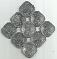 India 5 Paise 1988. KM#23a From Bank Bag X 9 Pcs - Inde