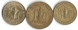 Lot 3  Pièces De Monnaie - 5 Et 10 Francs B C E  Afrique  De L'Ouest - Monnaies