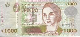 BILLETE DE URUGUAY DE 1000 PESOS DEL AÑO 2011  (BANK NOTE) - Uruguay