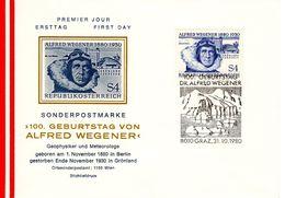 Alfred Wegener ÖS 4,- 1980 Sstpl 8010 Klagenfurt FDC Ersttag - FDC