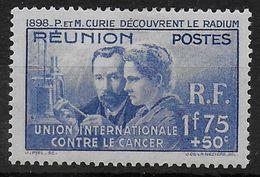1938 - CURIE - REUNION - YT N°155 * CHARNIERE LEGERE - COTE = 18.5 EUR - 1938 Pierre Et Marie Curie
