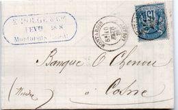 84Sm N°15 Lettre 1884 Montargis (Loiret) à Cosne (Niévre) Cachet Daté E. Pouge & Cie à Montargis - 1877-1920: Periodo Semi Moderno