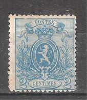 "BELGIQUE , 1866 , Armoiries "" Petit Lion "", Yvert N° 24 , 2 C Bleu , Neuf * / MH B/TB, Cote 200 Euros - 1866-1867 Piccolo Leone"