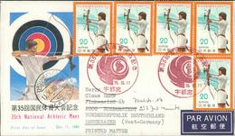 Japan FDC 1980, 35th National Athletic Meet, Sportfest, Bogenschießen, Archery, Tir à L'arc, Micchel 1445 (720) - FDC