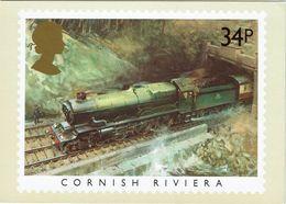 Railway Postcard 1985 PHQ 81(e) 34p Famous Trains Cornish Riviera Cuneo GWR King - Trains