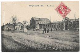 CPA PK  ERQUELINNES  LA GARE  CARTE ANIMEE - Belgien