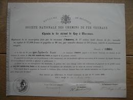 Action Souscrite En 1887 Par La Commune D'AINEFFE Pour Le CHEMIN DE FER VICINAL DE HUY à WAREMME - Chemin De Fer & Tramway