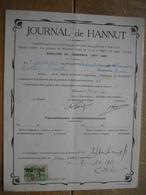 1934 - JOURNAL DE HANNUT - ACTION DE 100 FRANCS - Exploitation D'un Journal, Bulletin Officiel Du Notariat De La Région - Actions & Titres