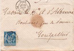 84Sm N°24 Lettre 1888 Enveloppe Paris Place De La Bourse à ? Tampon Juin Au V° - Marcofilie (Brieven)