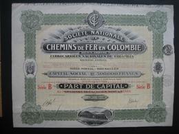Action 1924 BRUXELLES - SOCIETE NATIONALE DE CHEMINS DE FER EN COLOMBIE - Part De Capital Série B - Décoré : Train - Chemin De Fer & Tramway