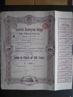 Action 1912 BRUXELLES - SOCIETE ANONYME BELGE DE TRAMWAYS - Chemin De Fer & Tramway