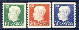 +D2760. Sweden 1948. King Gustav V 90 Years. Michel 343-45. MH(*) - Suède
