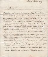"""Paris 5 Prairial An 9 - Lettre Au Citoyen TIXIER Gendre, Négociant à VAIRES (63) """"Votre Fils A La Rougeolre.. - Historische Documenten"""