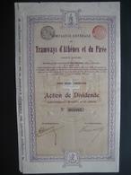 Action De 1907 BRUXELLES - TRAMWAYS D'ATHENES ET DU PIREE - Action De Dividende - Chemin De Fer & Tramway