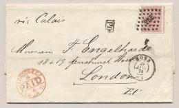 België - 1871 - 40c Leopold I En Profil Op Vouwbrief PD Van Mons Naar London / UK - 1865-1866 Profilo Sinistro
