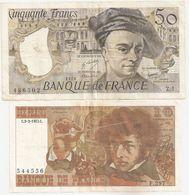 50 F QUENTIN DE LA TOUR 1976 ET 10 F BERLIOZ 1977 - 50 F 1976-1992 ''Quentin De La Tour''