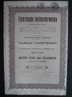 Action De 1936 HERGENRATH  - ELEKTRISCHE ISOLIERROHRWERKE - AKTIE VON 500 FRANKEN - Actions & Titres