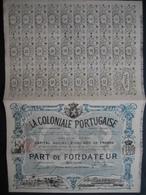 Action ANVERS 1899 - LA COLONIALE PORTUGAISE -Société Franco-Belge : Exploitation Minière & Agricole En Guinée Et Autres - Afrique