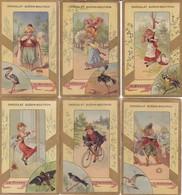 6 CHROMOS-PUB  CHOCOLAT  GUERIN-BOUTRON---( Serie Hommes Et Oiseaux )--voir 2 Scans - Guérin-Boutron
