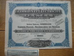BRUXELLES 1928 - TRAMWAYS ET ELECTRICITE DE DAMAS - ACTION DE 500 FRANCS - Beau Graphisme - Chemin De Fer & Tramway