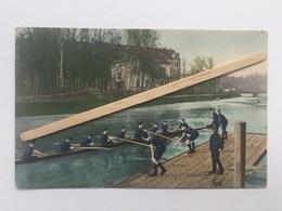 LIÈGE «AVIRON HUIT AVEC BARREUR  DÉPART D'UNE COURSE «couleur,panorama (1907) D.T.G. Série 1278 / 5. - Roeisport
