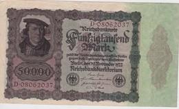 ALLEMAGNE 1922 REICHSBANKNOTE 50000 MARK - [ 3] 1918-1933 : Weimar Republic