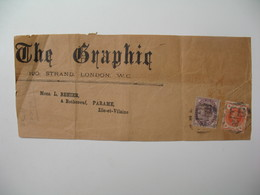Devant De Lettre Perforé Front Of Cover Perfin GRAPHIC   The Graphiq London To France  Ile Et Vilaine - Grande-Bretagne