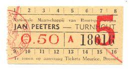 Ticket Treinkaartje Biljet Buurtspoorwegen - Jan Peeters - Turnhout - Chemins De Fer