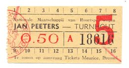 Ticket Treinkaartje Biljet Buurtspoorwegen - Jan Peeters - Turnhout - Railway
