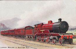 Vintage Railway Postcard LMS Scotch Express Claughton LNWR 4-6-0 Loco - Trains