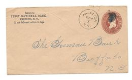 US GA USA Two Cents First National BAnk Angelica To Buffalo 1886 - Briefe U. Dokumente