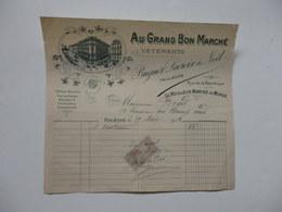 """Facture """"Au Grand Bon Marché"""" Bugnot, Lacroix & Noel Tailleurs à Orléans (Loiret). - Invoices & Commercial Documents"""
