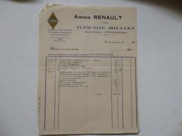 Facture De L'agence Renault Garage Millian Route De Chambéry à Les Echelles (73). - Invoices & Commercial Documents