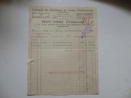 Facture De L'entrepôt De Charbons De Toutes Provenances Rovasio François à La Gare Saint-Jean-de-Maurienne (73). - Invoices & Commercial Documents