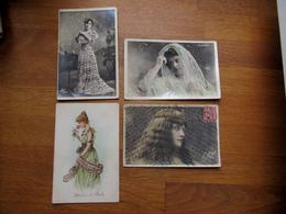 Lot De 4 CPA Artistes Femmes Avec Ajoutis / Paillettes - De St Rémy Auger De Beck  Sorel - Artiesten