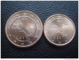 Estonia 2015 Euro Coins Set UNC 1 And 2 CENT FROM MINT ROLL MAP - Estonia