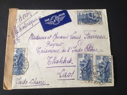 """Enveloppe Par Avion 10/04/1941 De Carcassonne Au Laos """"Censure Ok"""" - Andere Oorlogen"""
