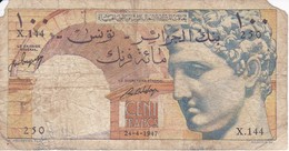 BILLETE DE TUNEZ DE 100 FRANCS DEL 24-4-1947 (BANK NOTE) MUY RARO - Tunisia