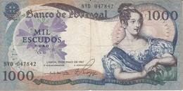 BILLETE DE PORTUGAL DE 1000 ESCUDOS DE 19 DE MAIO DEL AÑO 1967 SERIE NVD (BANKNOTE-BANK NOTE) - Portugal
