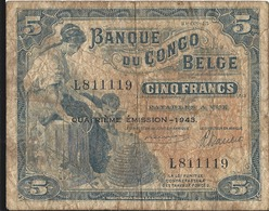 5 Francs Banque Du Congo Belge 1943 - Democratic Republic Of The Congo & Zaire