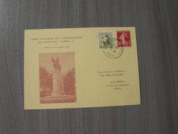 BELG.1938 Carte Souvenir De L' Inauguration Monument Roi Albert Ier à Paris - FDC