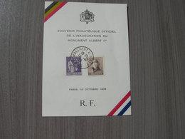 BELG.1938 Herrinneringsvelletje Inhuldiging Monument Albert 1 In Parijs Op 12-10-1938. Franse En Belgische Postzegel. - FDC