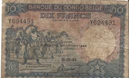 10 Francs Banque Du Congo Belge 1944 - Democratic Republic Of The Congo & Zaire
