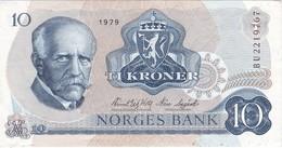 BILLETE DE NORUEGA DE 10 KRONER DEL AÑO 1979 EN CALIDAD EBC (XF)  (BANKNOTE) - Norvège