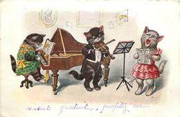 CHAT - KATZE - CAT -  ILLUSTRATEUR - CHAT HABILLE - ATTITUDE HUMANISEE - CHATS MUSICIENS - CHANTEUR - Chats
