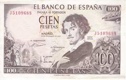 BILLETE DE 100 PTAS DEL AÑO 1965  SERIE J -  BECQUER  CALIDAD MBC (VF) (BANKNOTE) - [ 3] 1936-1975 : Régimen De Franco