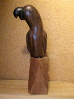 PERROQUET Sculpture Skulptur Oiseau Bird Parrot Vogel Papagei Bois Exotique (acajou ?) Déco Decoration ! - Wood