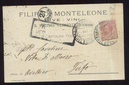 SAN PIETRO VERNOTICO - BRINDISI - 1917 - CARTOLINA COMMERCIALE - MONTELEONE - VINI UVE - Negozi