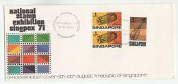 1971 Aug 5, SINGAPORE SINGPEX PHILATELIC EXHIBITION EVENT  COVER  Stamps Music - Singapore (1959-...)