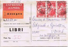 Espresso - Assegno- Tariffa Ridotta Per Editori - Viaggiato 1957 - 6. 1946-.. Republik